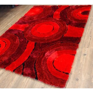 Living Shag Red/Burgundy/Black Polyester Hand-tufted Area Rug (7'6 x10'3)