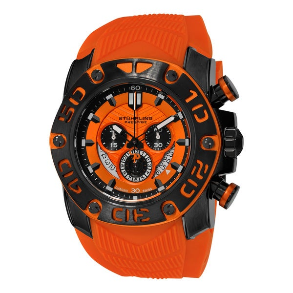 Stuhrling Original Men's Swiss Quartz Chronograph Chief Commander Orange Rubber Strap Watch 19916563