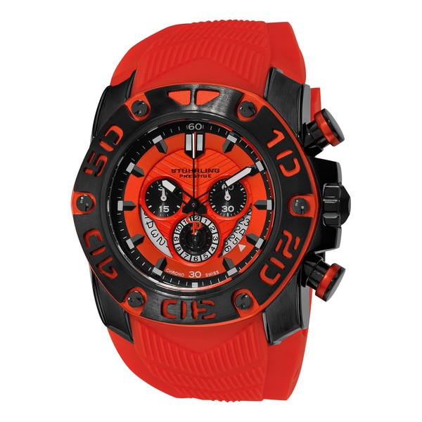 Stuhrling Original Men's Swiss Quartz Chief commander Chronograph Red Rubber Strap Watch 19916618