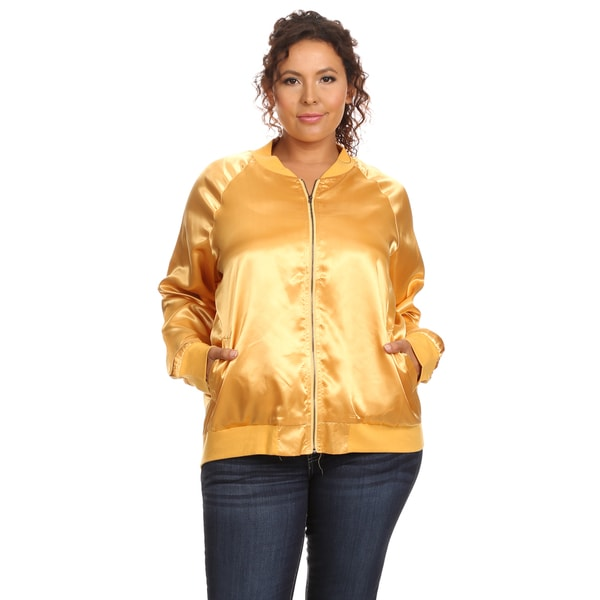 Hadari Women's Plus Size Long Sleeve Bomber Jacket