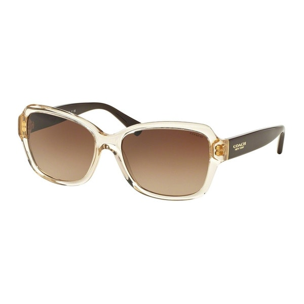 Coach HC8160F 534113 Crystal Light Brown/Dark Brown Womens Plastic Butterfly Sunglasses