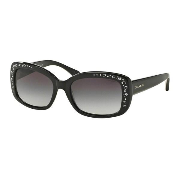Coach HC8161 L146 500211 Black Womens Plastic Rectangle Sunglasses