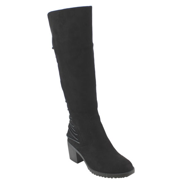Betani FD40 Women's Faux Suede Knee-high Lace-up Back Block-heel Boots