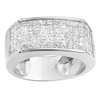 14k White Gold Men's 2ct TW Princess Diamond Wedding Band Ring (H-I, I1-I2)