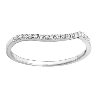 14k Gold 1/8ct TW Diamond Anniversary Wedding Contour Stackable Band Guard Ring (I-J, I2-I3)