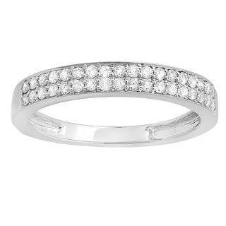 14k White Gold 1/3ct TW Round Diamond Anniversary Wedding Band Stackable Ring (H-I, I1-I2)