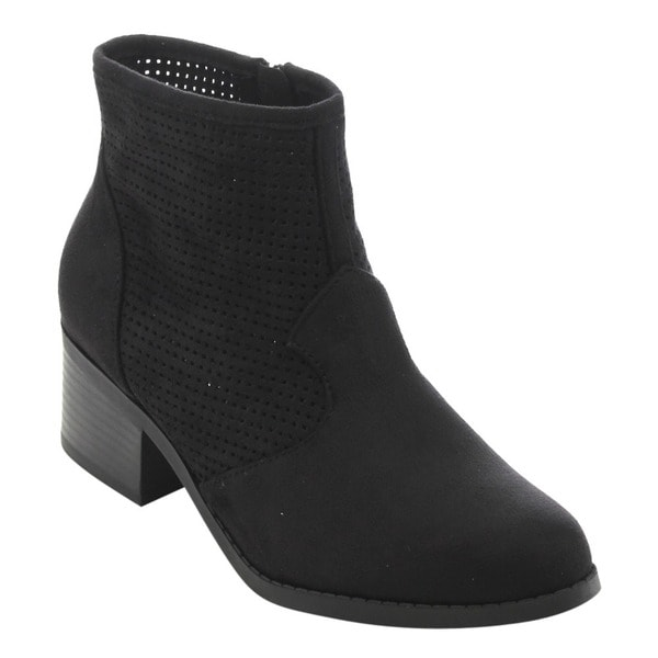 CityClassified FC64 Women's Faux-suede Perforated Cut-out Low Block Heel Ankle Booties