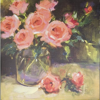 Laurie Johnson's 'Pink Roses' Multicolored Canvas Art