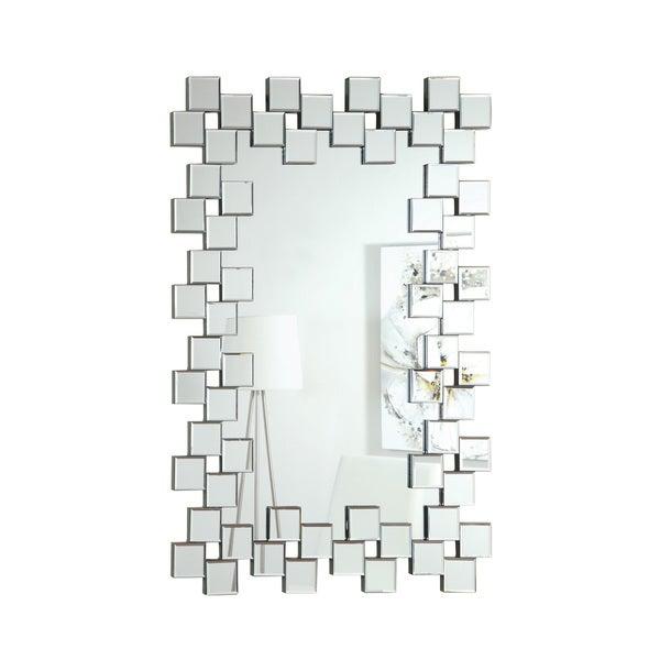 Little Squares Silver Frameless Mirror