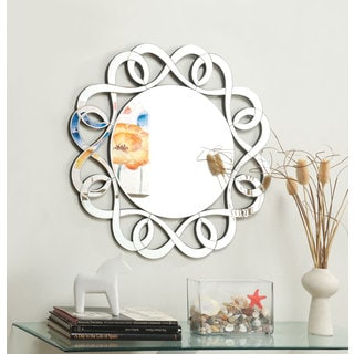 Silver-colored Round Frameless Decorative Mirror