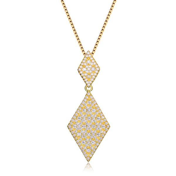 Collete Z Cubic Zirconia Sterling Silver Gold Plated Diamond Shape Drop Pendant
