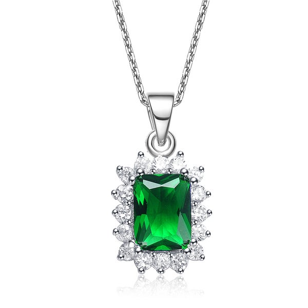 Collete Z Cubic Zirconia Sterling Silver Rhodium Plated Square Emerald Drop Pendant