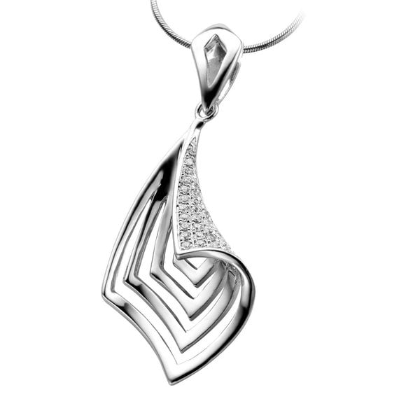 Collete Z Cubic Zirconia Sterling Silver Rhodium Plated Oval Shape Micro Setting Pendant 19922888