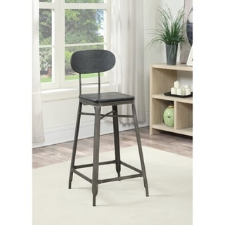 Amisco Stadium Swivel Metal Barstool With Distressed Wood