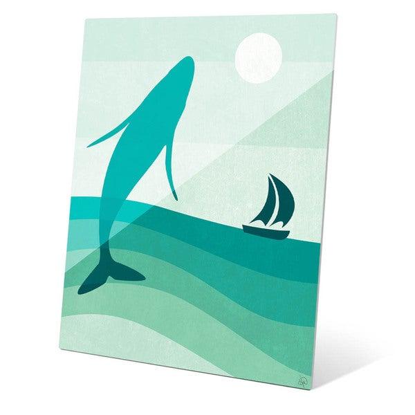 Breaching Whale Green Wall Art on Glass