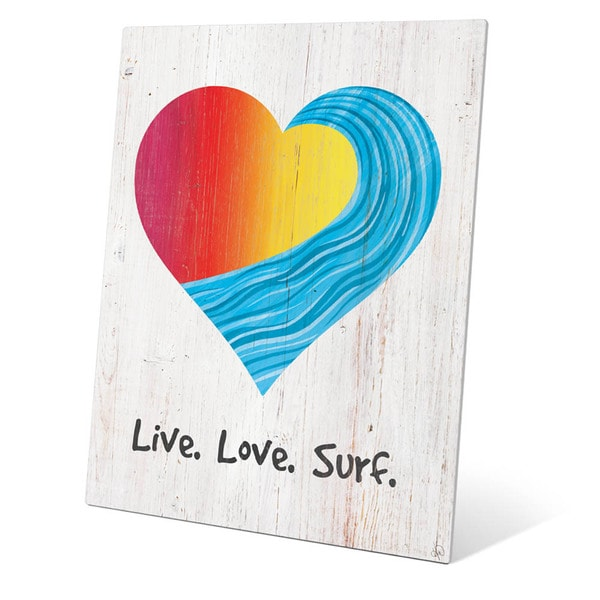 Live Love Surf Red To Yellow On Wood Wall Art on Metal