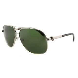 Alexander McQueen AM 0019S 003 Silver Havana Metal Aviator Green Lens Sunglasses
