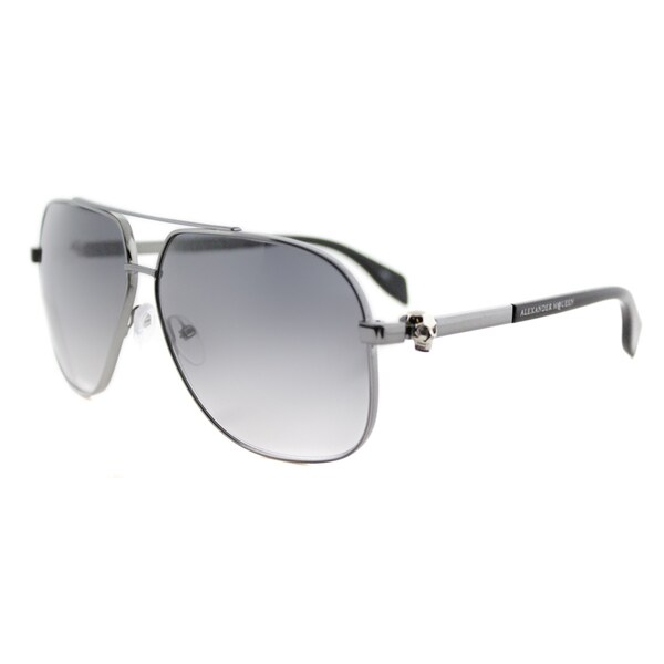 Alexander McQueen AM 0019S 004 Ruthenium Metal Aviator Grey Gradient Lens Sunglasses