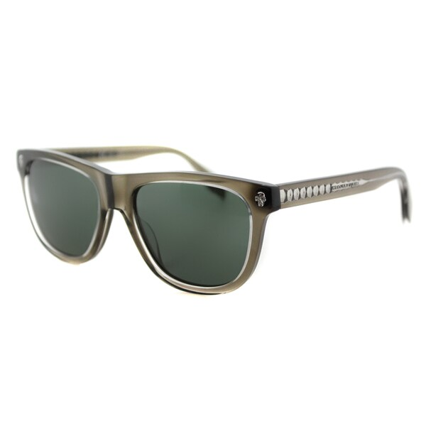 Alexander McQueen AM 0023S 003 Grey Crystal Plastic Rectangle Grey Lens Sunglasses