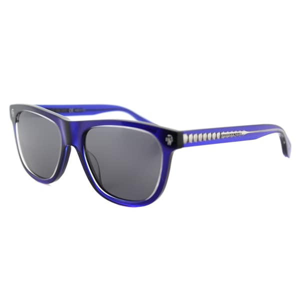 Alexander McQueen AM 0023S 004 Blue Crystal Plastic Rectangle Grey Lens Sunglasses
