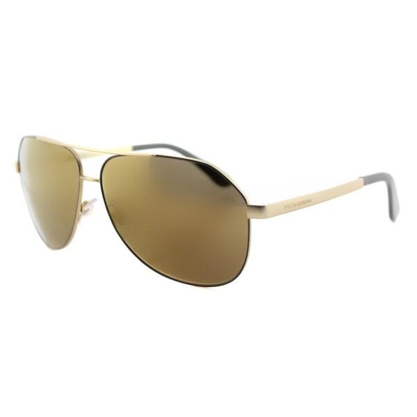 Dolce & Gabbana DG 2144 1295F9 Matte Grey Metal Aviator Bronze Mirror Lens Sunglasses