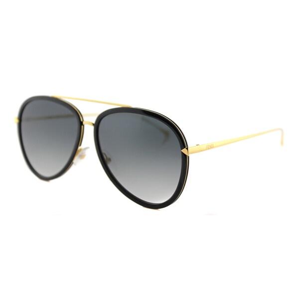 Fendi FF 0155 MY2 Funky Angle Black Yellow Gold Metal Aviator Grey Gradient Lens Sunglasses