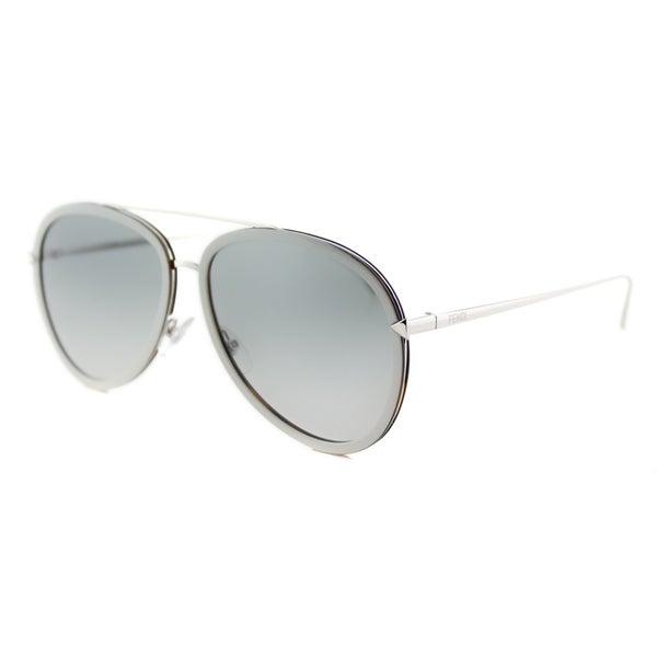 Fendi FF 0155 V5A Funky Angle Beige Palladium Metal Aviator Grey Gradient Lens Sunglasses