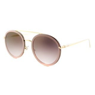 Fendi FF 0156 V54 Funky Angle Rounded Pink Gold Metal Aviator Gold Mirror Lens Sunglasses