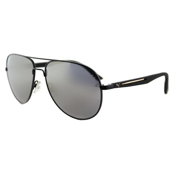 Puma PU 0007S 007 Flexstyle V3 Usain Bolt Black Metal Aviator Gold Mirror Lens Sunglasses