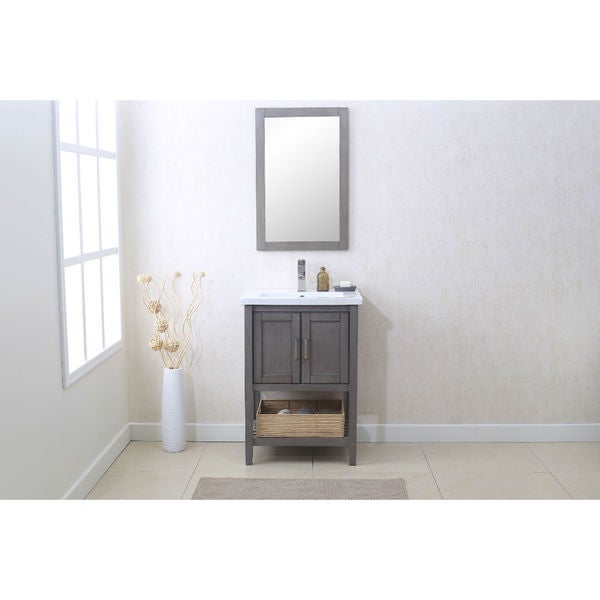 legion furniture grey 24 inch bathroom vanity with matching mirror and