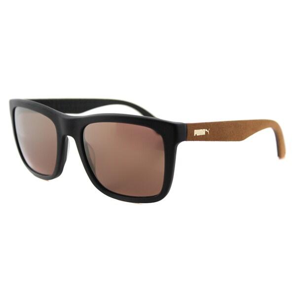Puma PU 0040S 001 Suede Matte Black Plastic Rectangle Gold Gradient Lens Sunglasses