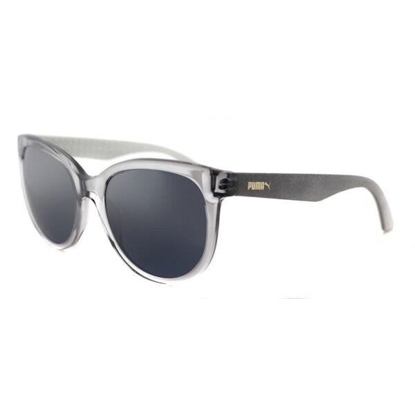 Puma PU 0041S 003 Suede Crystal Grey Suede Plastic Round Silver Mirror Lens Sunglasses