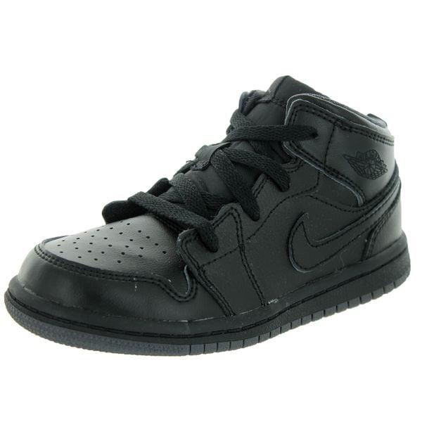 Nike Jordan Kids Air Jordan 1 Mid Black/Black/Dark Grey Basketball Shoe