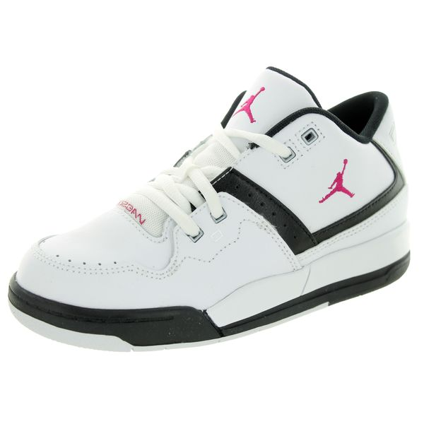 Nike Kids' Jordan Flight 23 White, Sport Fuchsia, and Black Basketball Shoes