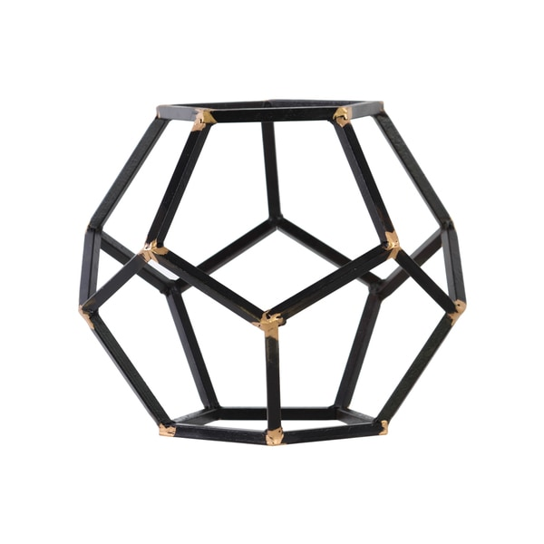 Metal LG Rust Finish Black Polygonal Sculpture