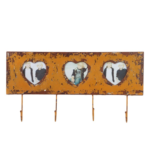 Distressed Orange Metal Wall Hanger