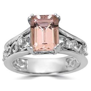 Noori 14k White Gold 1 3/4ct TGW Emerald-cut Morganite and 1/6ct TDW Diamond Engagement Ring (G-H, SI1-SI2)