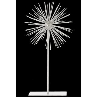 White Metal Sea Urchin Sculpture on Stand