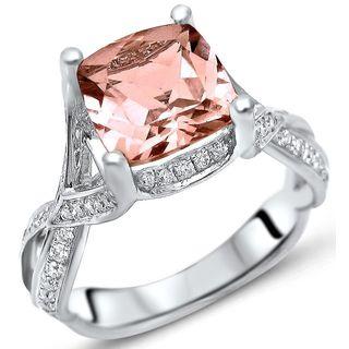 Noori 18k White Gold 2 1/3ct TGW Cushion Morganite and 2/5ct TDW Diamond Engagement Ring (F-G, SI1-SI2)
