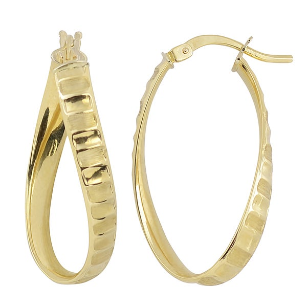 Fremada Italian 14k Yellow Gold Twist Oval Hoop Earrings 19930678