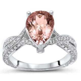 Noori 14k White Gold 2 1/3ct TGW Morganite and 7/8ct TDW Diamond Engagement Ring (H-I, I1-I2)