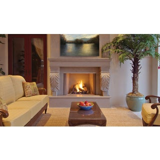 VRE4300 42-inch Stainless Steel Outdoor Superior Vent Free Fireplace with White Stack Brick