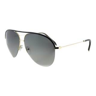Victoria Beckham VBS 90 C11 Classic Victoria Black Leather Gold Metal Aviator Grey Gradient Zeiss Lens Sunglasses
