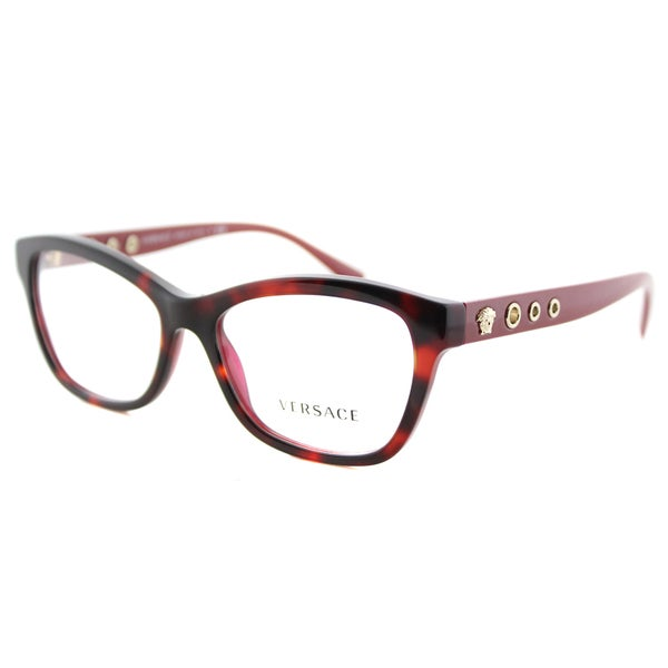 Versace Bordeaux Plastic Havana Cat-eye Frames