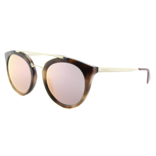 Prada PR 23SS USG5L2 Cinema Striped Dark Brown Plastic Round Yellow Rose Mirror Lens Sunglasses