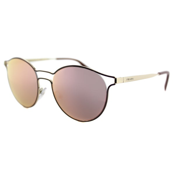Prada PR 62SS USH5L2 Cinema Bordeaux Pale Gold Metal Round Yellow Rose Mirror Lens Sunglasses