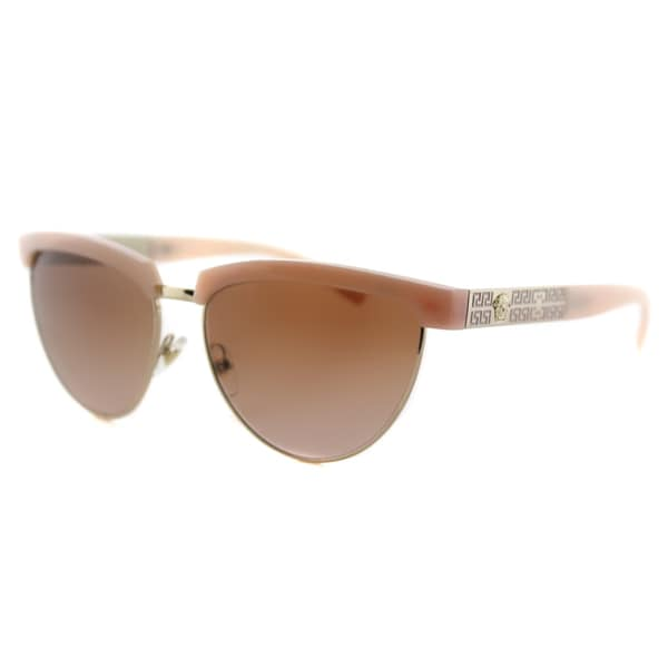 Versace VE 2169 138813 Pink Pale Gold Plastic Cat-Eye Brown Gradient Lens Sunglasses