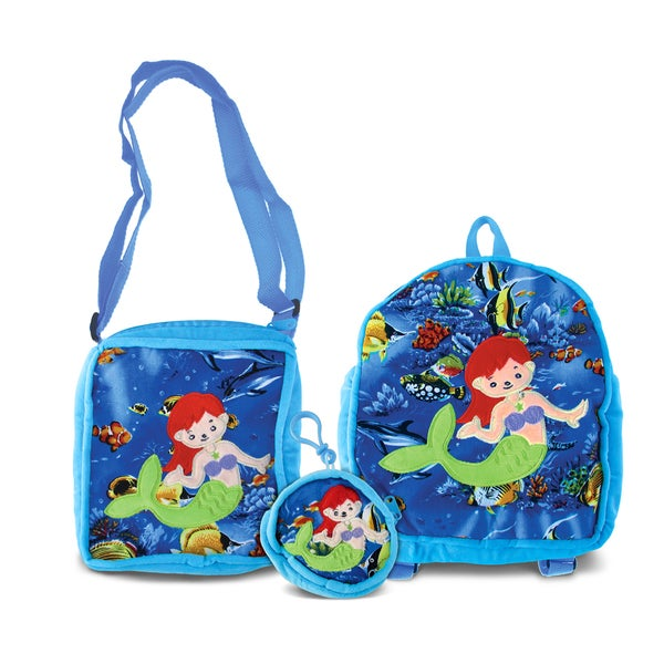 Puzzled Mermaid Collection Multicolored Fabric Mermaid-themed Coin Bag, Shoulder Bag and Backpack (Set of 3)