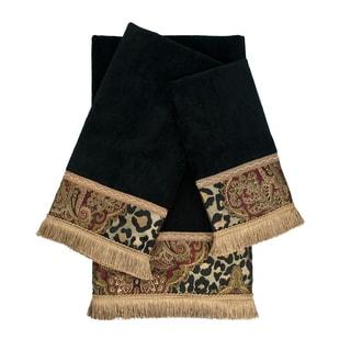 Sherry Kline Tangiers Black 3-piece Decorative Embellished Towel Set