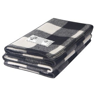 Woolrich Rough Rider Black and White Wool Buffalo Throw